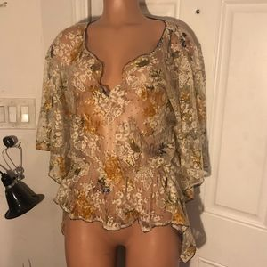 Free People sheer lace floral top/cover S